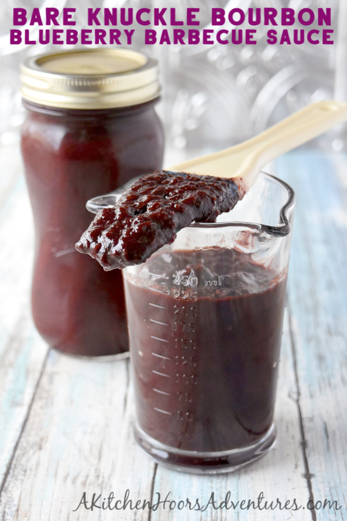 Bare Knuckle Bourbon Barbecue Sauce is rich and full of sweet blueberry and smoky bourbon flavor. It's my new favorite sauce for ribs, roasts, and chicken. #BlueberryWeek