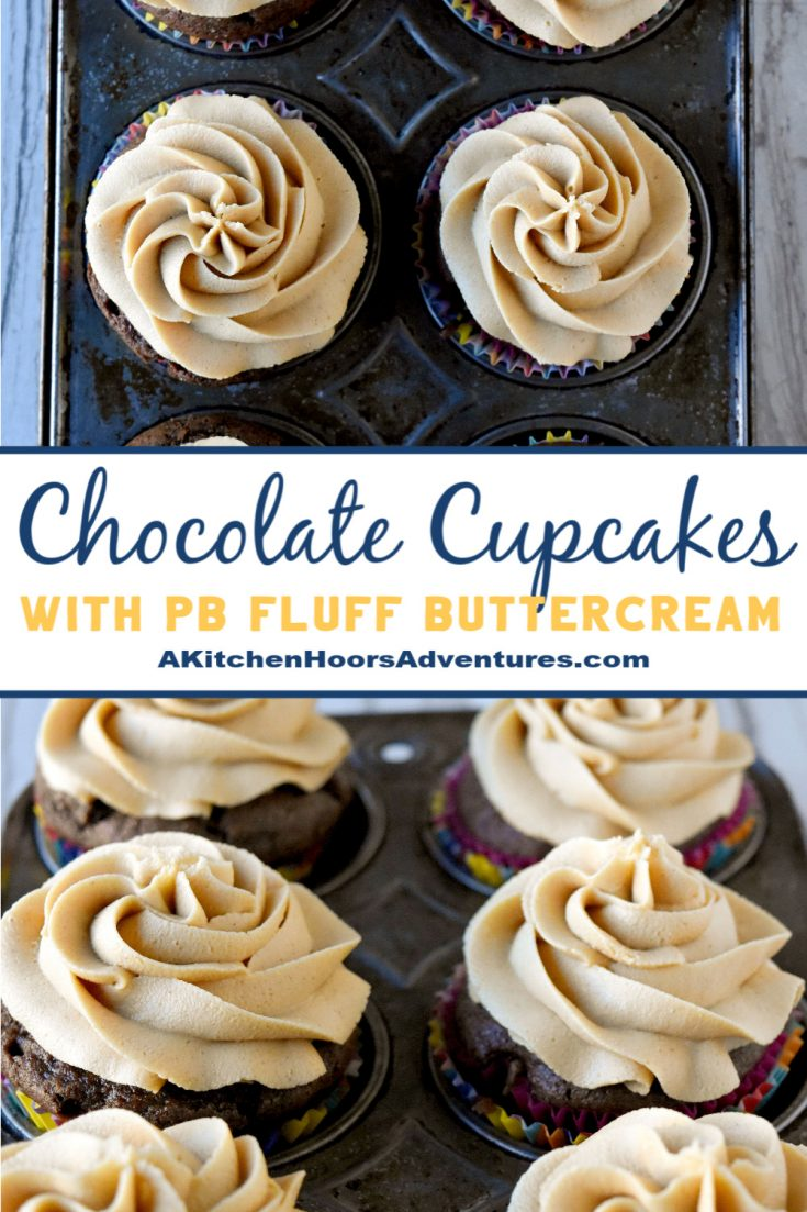 Chocolate Cupcakes with PB Fluff Buttercream are rich, delicious, and full of fluffernutter flavor. Your kids will rush home from school to devour these delicious cupcakes. Print