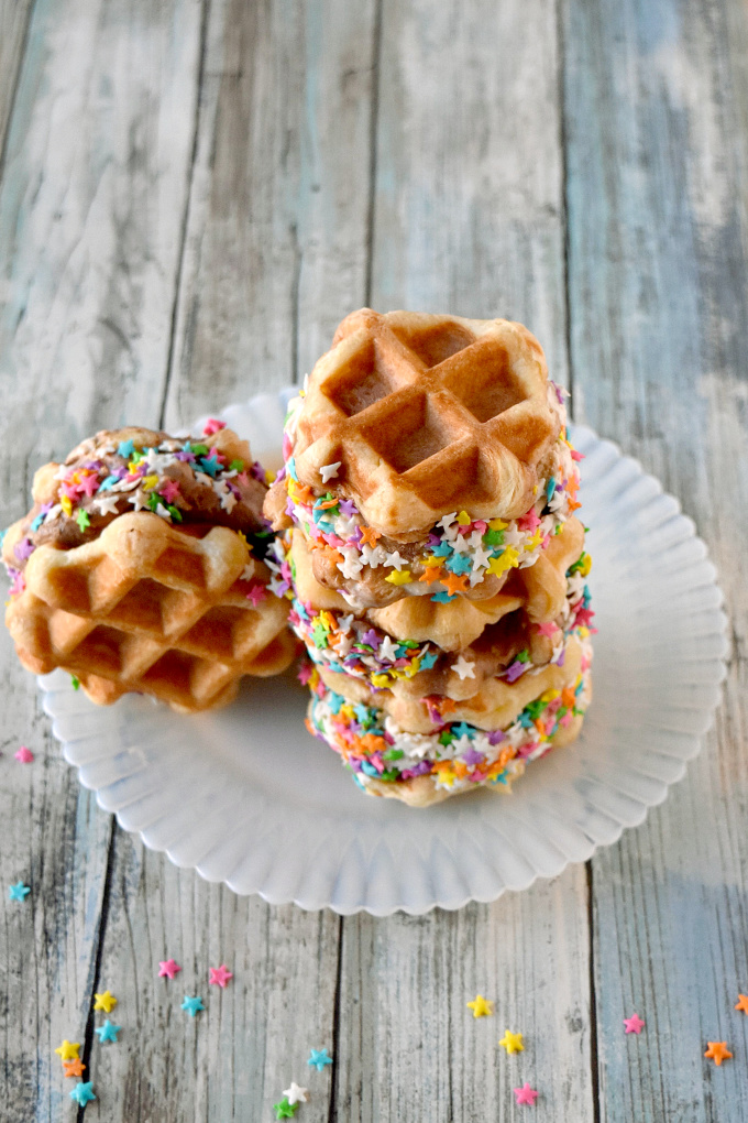 Liege style waffles are slightly sweet and hearty enough to make Ice Cream Waffle Sandwiches.  Fill them with your favorite ice cream for a delicious summer treat. #SummerDessertWeek