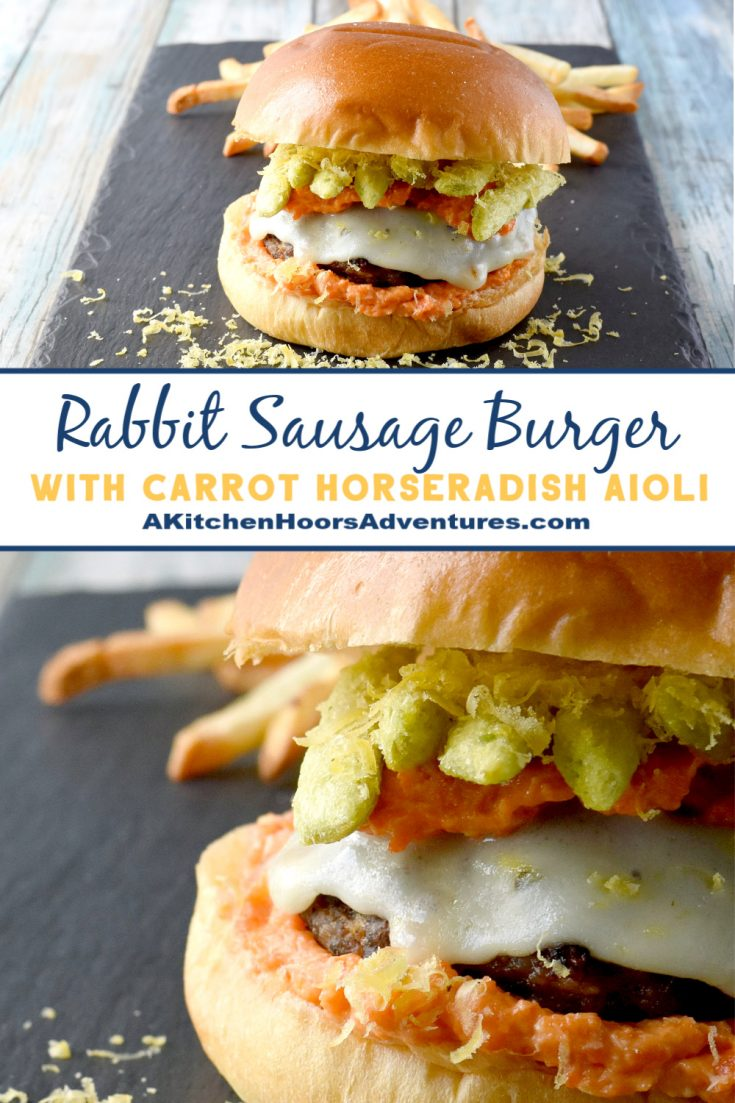 Rabbit Sausage Burger with Carrot Horseradish Aioli packs some serious flavors!  Inspired by a burger challenge, this is one stellar burger that tastes amazing.