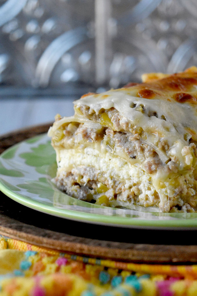 White Bolognese Lasagna has a depth of flavor you wouldn't expect. The creamy sauce is perfectly matched with the ricotta and noodles in this delicious dish. #NationalLasagnaDay