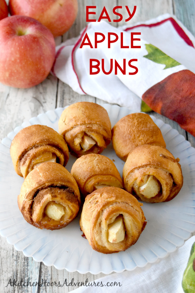 With four ingredients, these Easy Apple Buns are a quick treat your family will love! Made with in season fall apples, they're deliciously sweet and perfect for tailgating. #OurFamilyTable