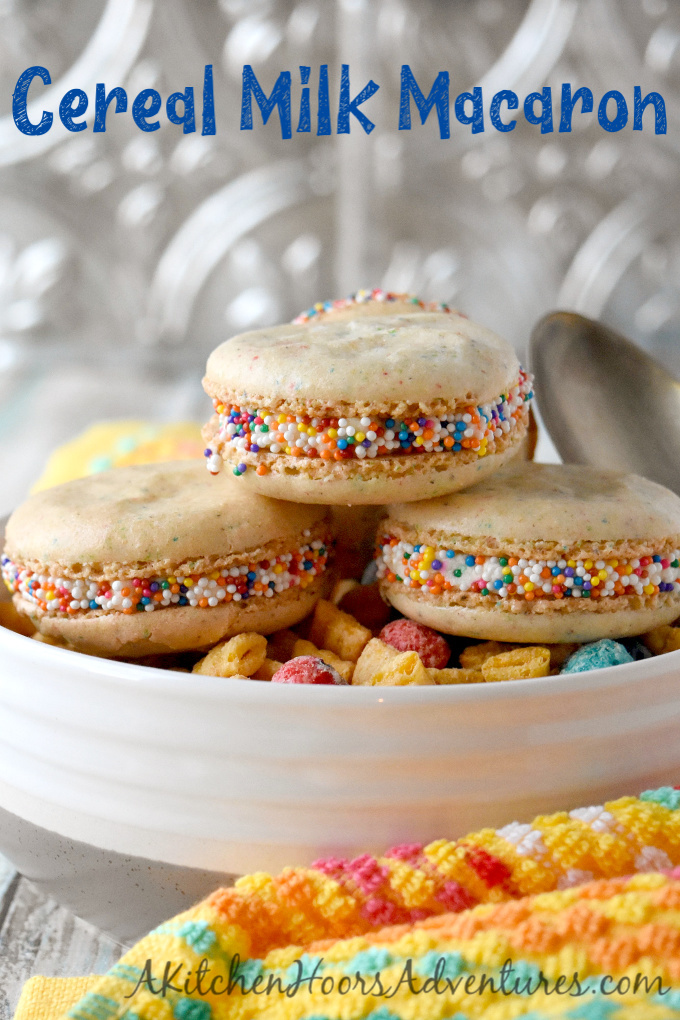 Cereal Milk Macaron taste like your favorite fruit cereal. There's cereal in the shells and cereal milk in the buttercream.