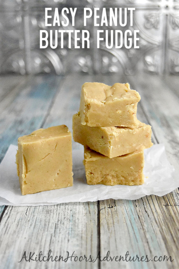 With just four ingredients, this is Easy Peanut Butter Fudge! If you can melt some butter in a pan, than you can make this fudge. It tastes delicious and makes a great addition to any holiday tin.