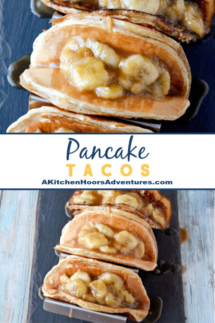 Using a protein rich pancake mix, these Pancake Tacos are full of flavor, energy, and delicious banana topping!  They're perfect for breakfast or an after school/work pick me up.