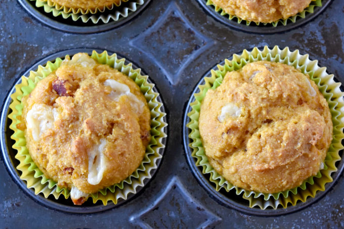 Chorizo Cheddar Pumpkin Cornbread Muffins are not only a mouthful to say, but they're a delicious mouthful for breakfast. Slightly sweet, slightly spicy, with a kick of sharp Cheddar makes these muffins delicious. #PumpkinWeek