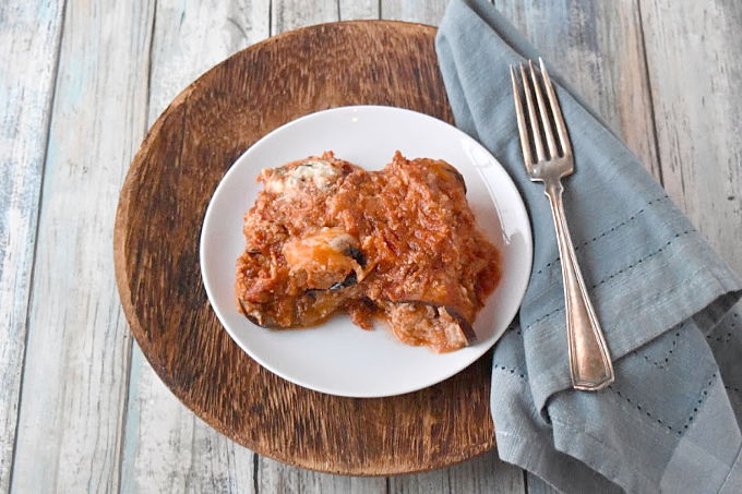 know I love me some lasagna, even if it's in the form of this Eggplant Rollantini stuffed with rich ricotta and Parmesan and baked in a chunky marinara sauce. #FallFlavors