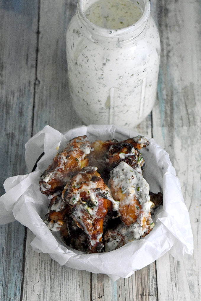 Kefir Marinated Air-Fryer Wings are marinated in a kefir and Buffalo sauce mixture which makes them tender with a delicious crispy caramelized skin. The homemade kefir ranch dressing takes it all over the top for a flavor explosion! #lifewaykefir #madewithlifeway #loveyourguts #lifewayrecipechallenge