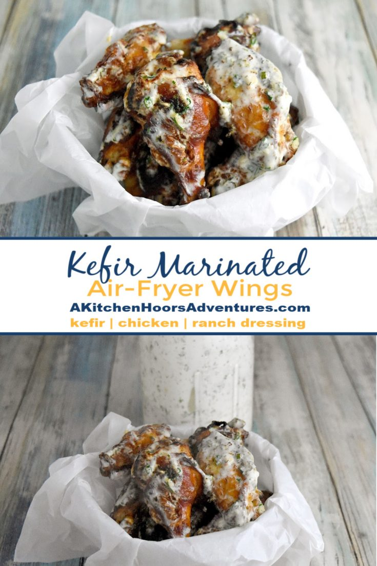Kefir Marinated Air-Fryer Wings are marinated in a kefir and Buffalo sauce mixture which makes them tender with a delicious crispy caramelized skin. The homemade kefir ranch dressing takes it all over the top for a flavor explosion!