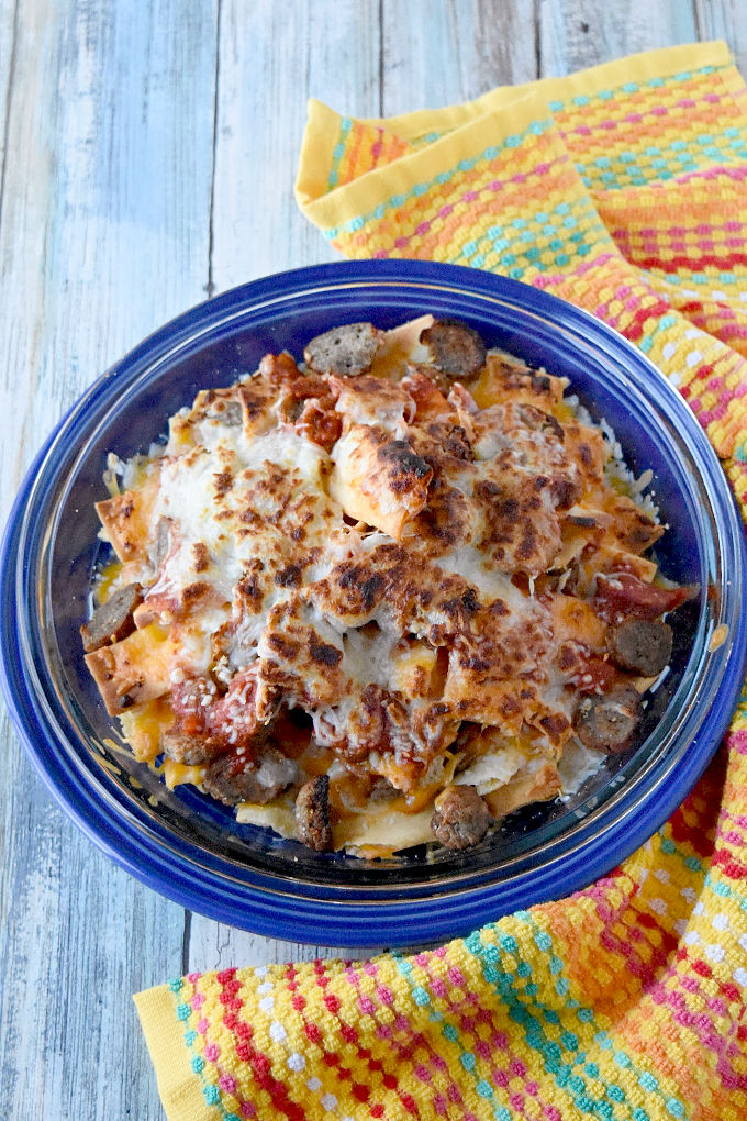 Italian Meatball Nachos are a delicious twist on your typical nachos. These nachos are made super easy with frozen meatballs, jarred pizza sauce, and shredded mozzarella cheese. #OurFamilyTable