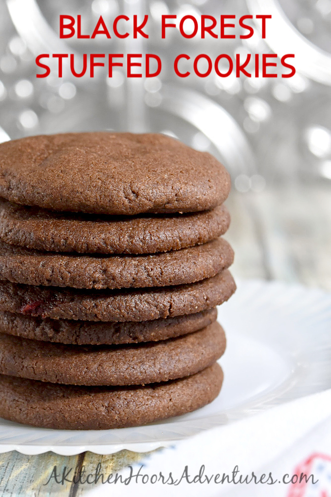 Chocolaty and stuffed with cherries, Black Forest Stuffed Cookies are addictively delicious. They can be round and fudgy, or crispy and scrumptious. #ChristmasCookies