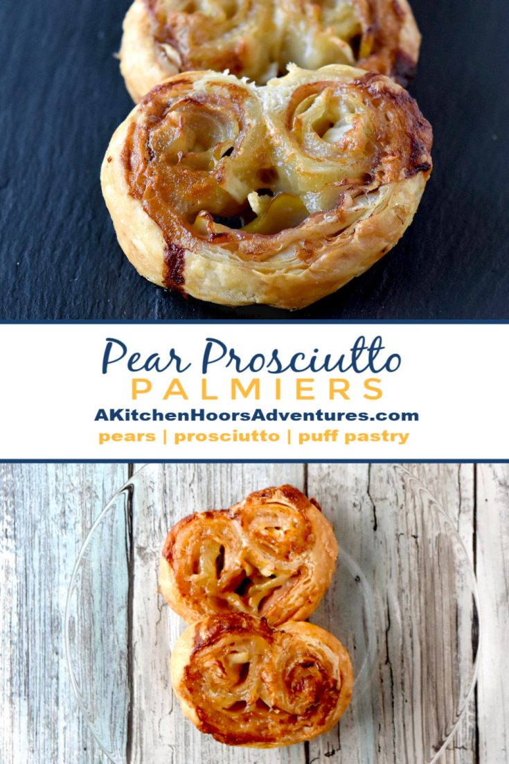 Sweet USA Pears and salty prosciutto combine with creamy blue brie in this easy but elegant appetizer.  Pear and Prosciutto Palmiers come together in minutes, bake in under 20, and look gorgeous on the plate.