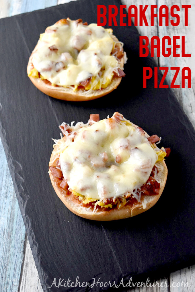 Breakfast Bagel Pizza with eggs, ham, cheese, and salsa.