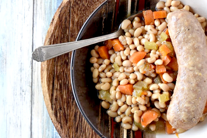Lady Pea Cassoulet with carrots, celery, sausages
