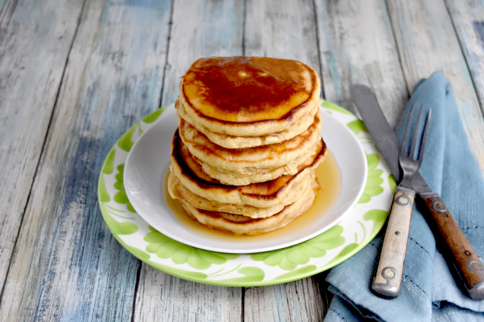 Easy Peanut Butter Pancakes with syrup