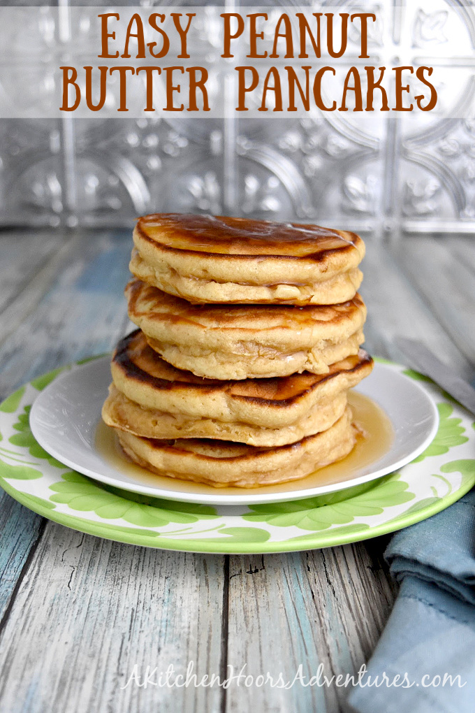Easy Peanut Butter Pancakes on a plate