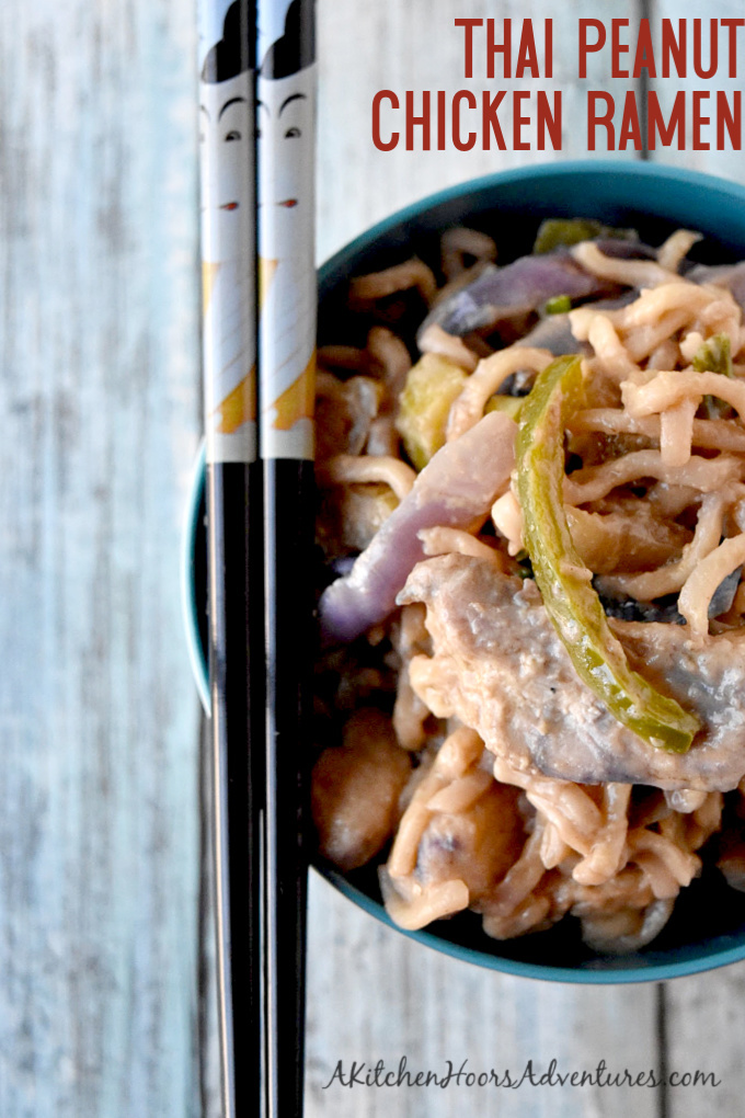 Instant ramen turns into a deliciously easy weeknight meal. Thai Peanut Chicken Ramen is packed with vegetables, peanut butter, and delicious Asian flavors.