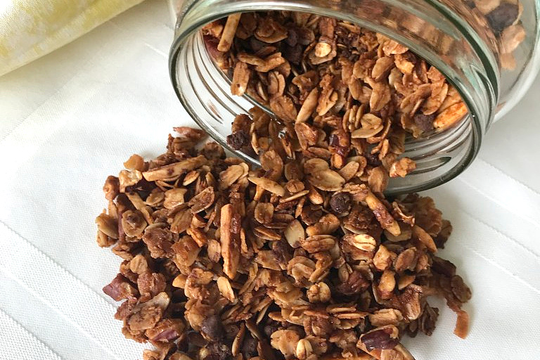 Almond Pecan Granola is a filling snack full of hearty nuts and grains for a healthy immune system.