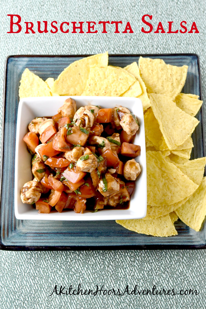Brushetta Salsa is perfect for your backyard parties. It comes together quickly, you can make it ahead of time, and it tastes so so good! #BBQWeek
