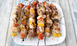 Dijon Pork Kabobs are marinated in Dijon mustard and Caesar vinaigrette. It sounds so simple, but makes the pork taste irresistible! #BBQWeek