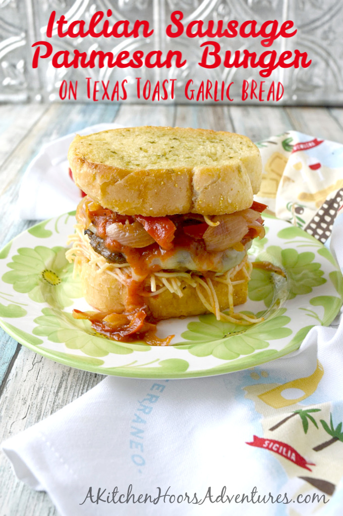 Italian sausage and ground pork come together in this Italian Sausage Parmesan Burger. It's packed with Italian flavors, topped with cheese, and sits on top of spaghetti and Texas toast garlic bread.
