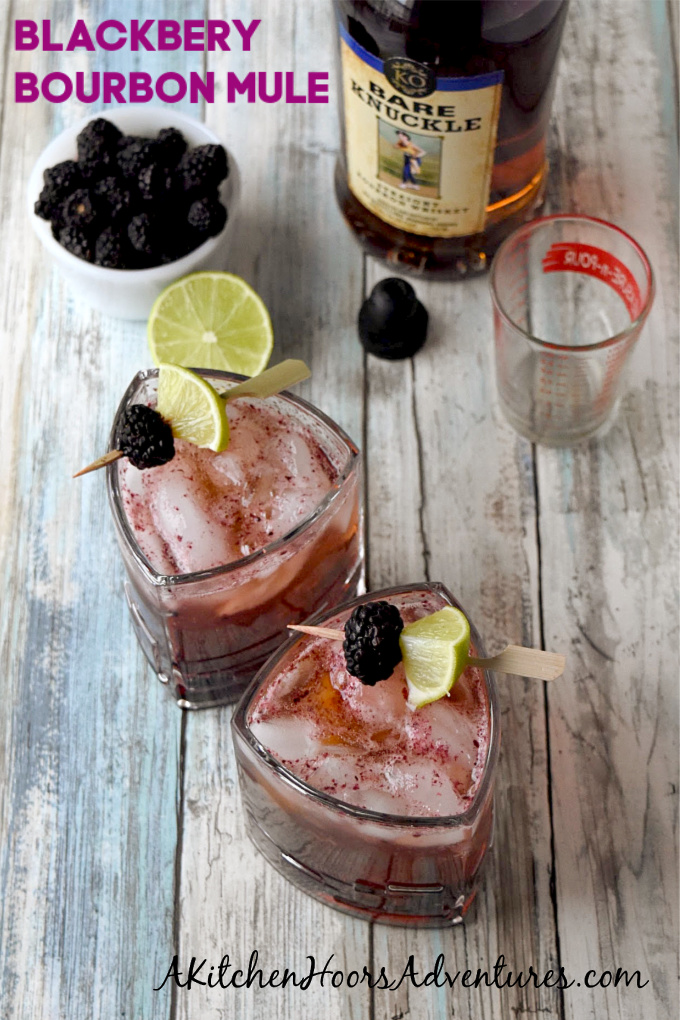 Blackberries and limes are muddle together then topped with craft bourbon and ginger beer in this Blackberry Bourbon Mule. The tart lime and tasty berries compliment the smoky rich flavor of the bourbon.