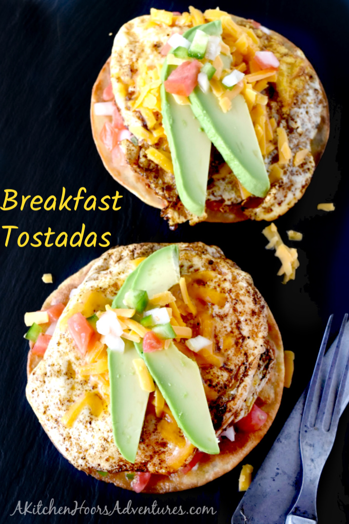 You can prepare everything but eggs ahead of time. Breakfast Tostadas are not only delicious, but kicked up with spice and topped with cheese, cool crema, and creamy avocados.