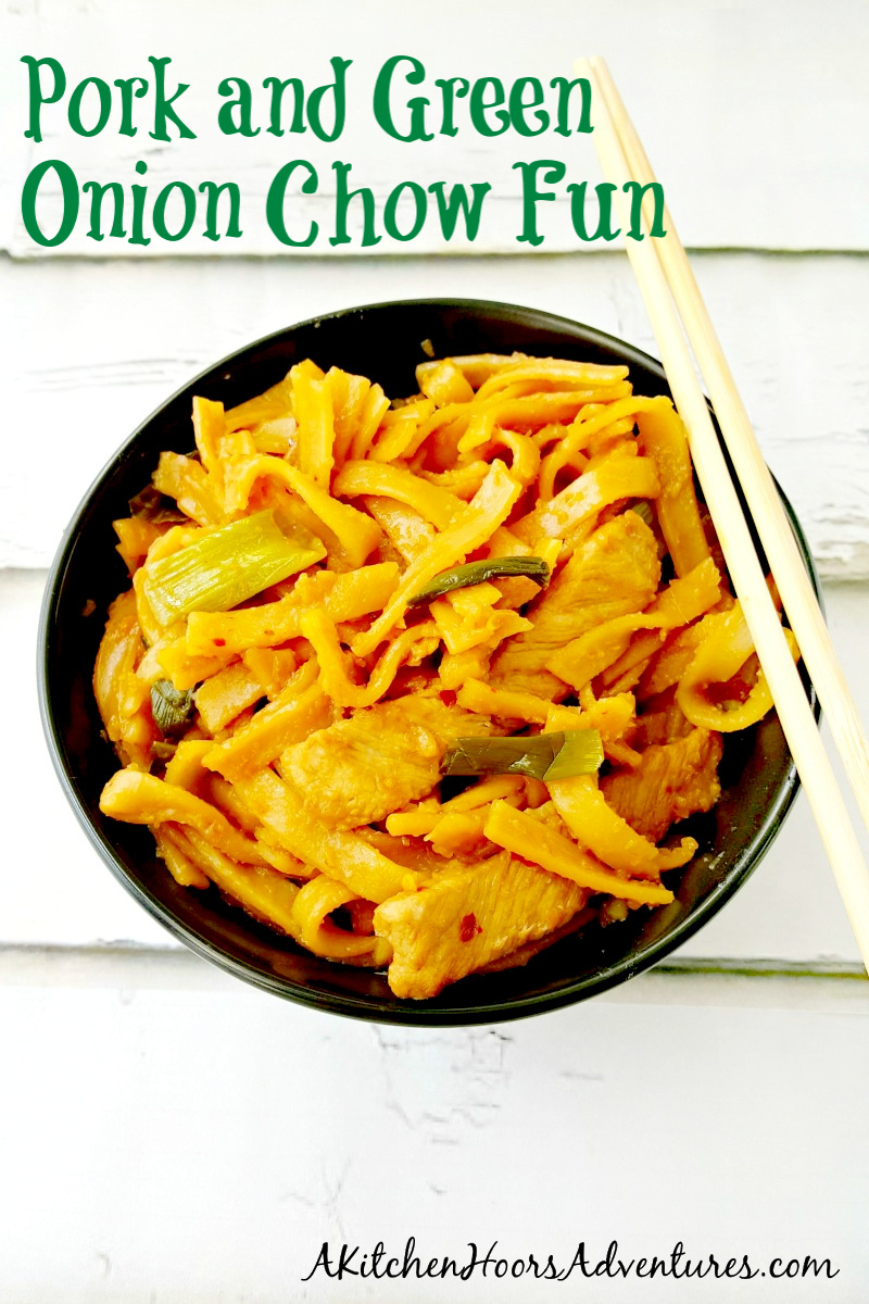 This delicious Pork & Green Onion Chow Fun is on the table in under 30 minutes and will be a hit with your kids; big and little.  The longest time you have to wait is for the pork to marinate and the noodles to soften.