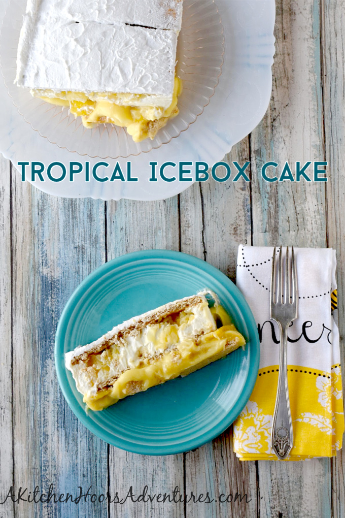 Tropical Icebox Cake has mango and pineapple buried in the custard and mousse style filling between the graham cracker layers.  It's simple and simply delicious. #SummerDessertWeek