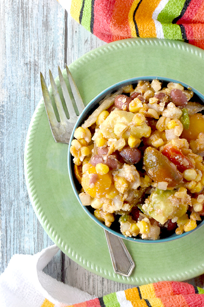 Corn and Tomato Salad uses leftover corn on the cob and grape tomatoes to make a delicious sauteed salad.  It's sweet, crunchy, and creamy all in one! #FarmersMarketWeek