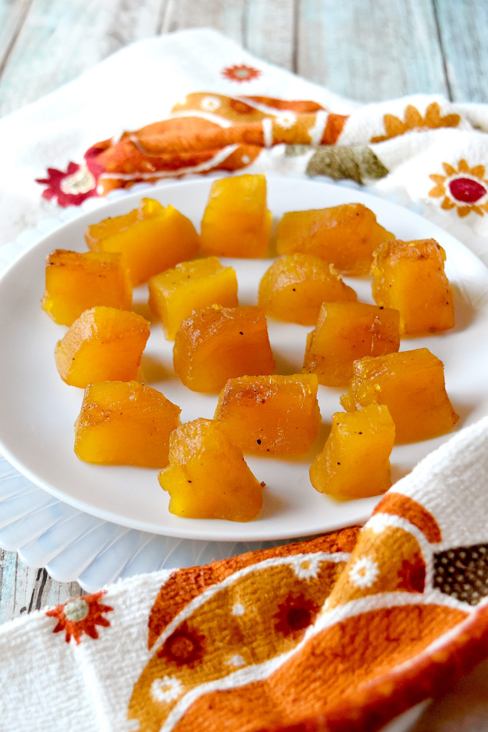 Candied Pumpkin Pie tastes like a bite of pie without all the calories! This is simply pumpkin, water, sugar, and spices #PumpkinWeek