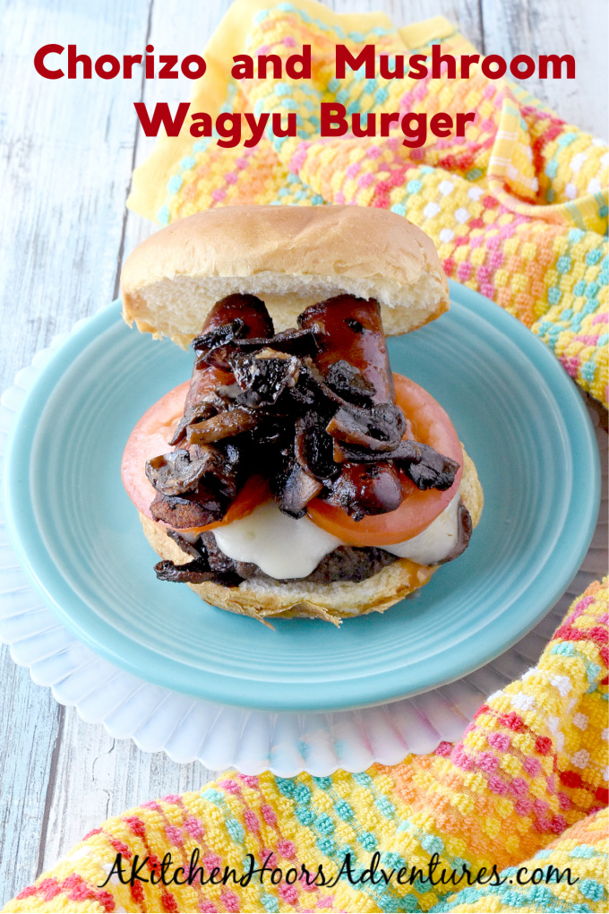 Chorizo and Mushroom Wagyu Burger are decadent, topped with rich mushrooms and chorizo with melted Emmental cheese on top. There's a kicked up mushroom Swiss burger for sure! #VermontWagyu #fullbloodwagyuvt