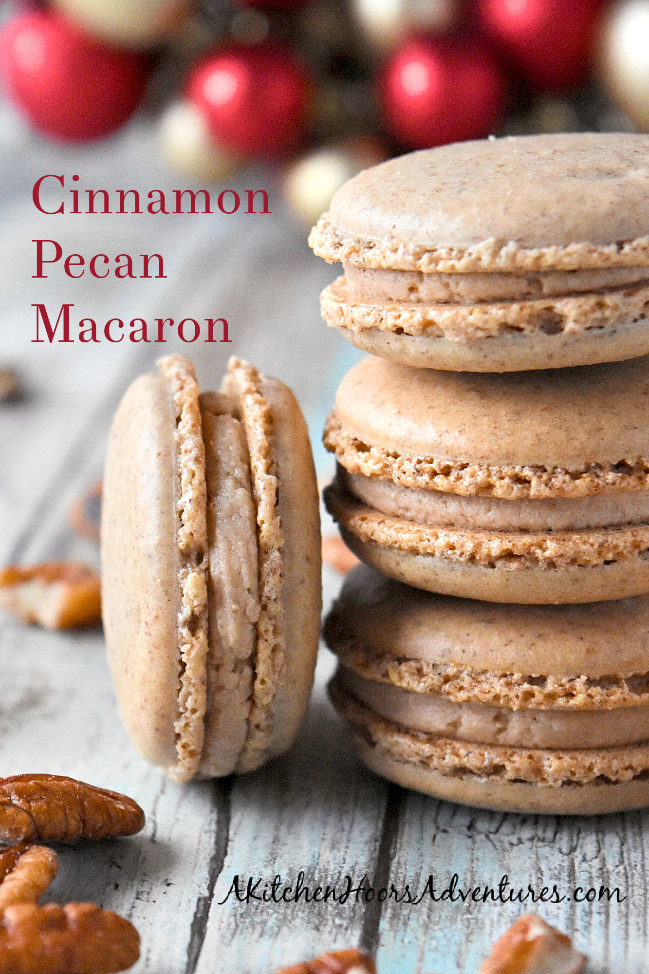 Cinnamon Pecan Macaron have the flavor of those fair cinnamon pecans in a macaron cookie.  They're packed with pecan and cinnamon flavors with a hint of caramel in the filling. #ChristmasCookies