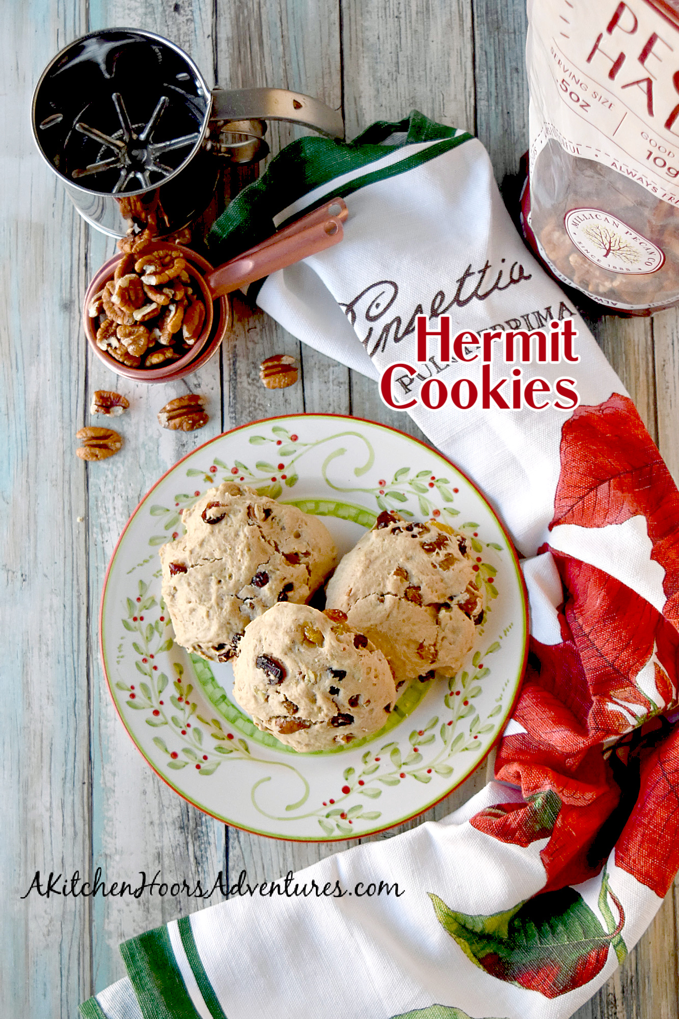 Hermit Cookies are hearty, packed with dried fruits and nuts, and perfect for dipping into coffee or tea.  More scone like than cookie, they're slightly sweet with a soft, bread like texture.  And perfectly delicious! #ChristmasCookies