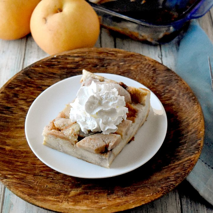 Butterscotch Pear Bread Pudding is rich with custard and bread topped with Butterscotch pears and caramel sauce. It's the perfect dessert to get you through winter. #FamilyBakingChallenge