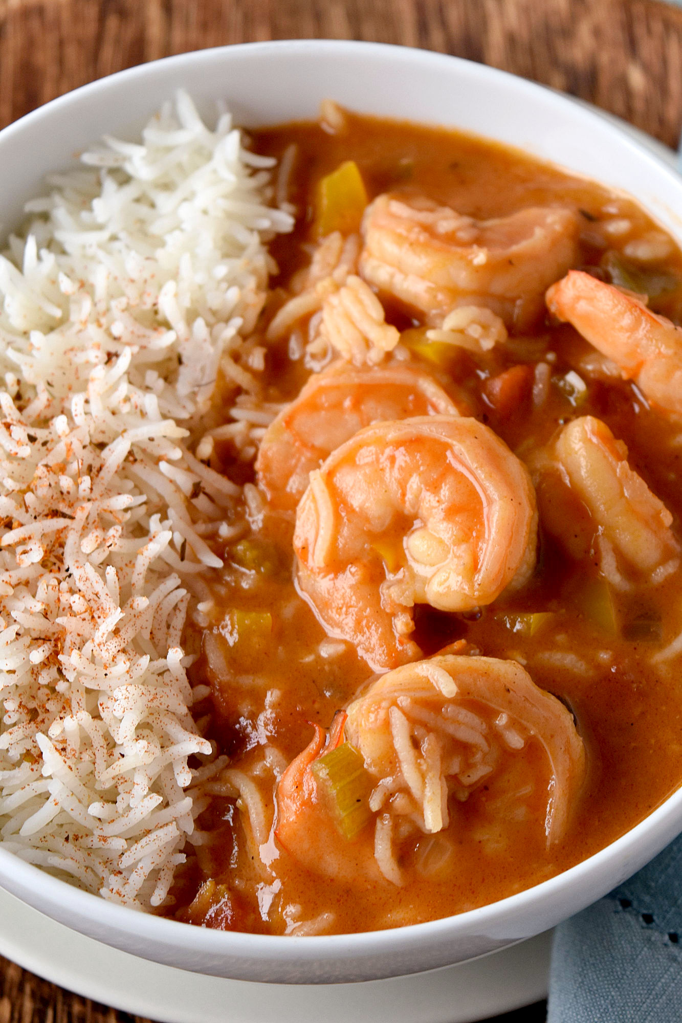 Shrimp Étouffée takes just a little effort but is will worth it!  The reward shrimp is a smooth and creamy broth and that thick and rich. #OurFamilyTable