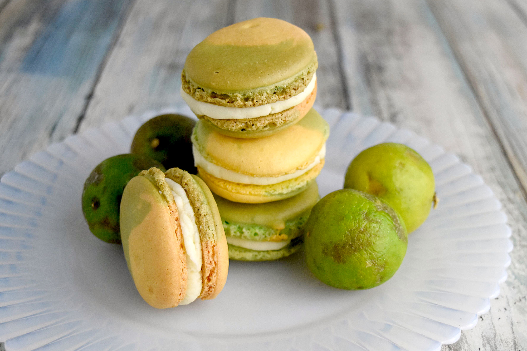Lemon Lime Macaron have lemon in the shells and key lime buttercream filling. They're the perfect sweet tart treat.