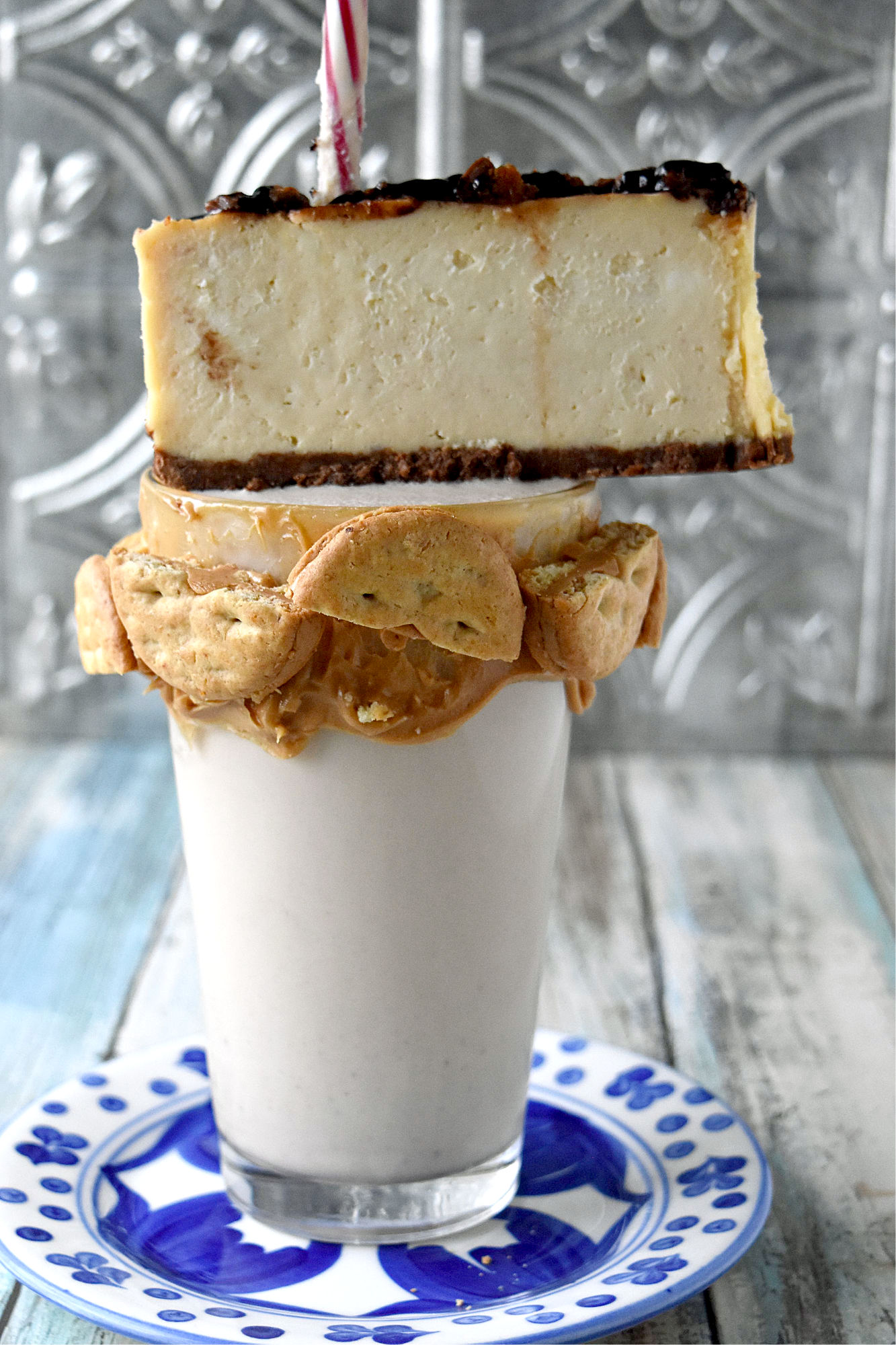 Peanut Butter Cheesecake Milkshakes tastes like a peanut butter cheesecake in a glass. It is sweet, full of peanut butter flavor with a hint of cheesecake tang.  #OurFamilyTable