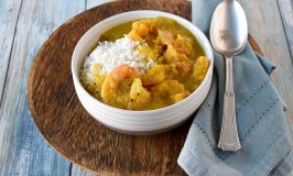 Coconut Pumpkin Shrimp Curry is packed with delicious curry flavors, sweet pumpkin, tasty shrimp, and a kick from the homemade chili base. It is creamy with yummy kick. #PumpkinWeek