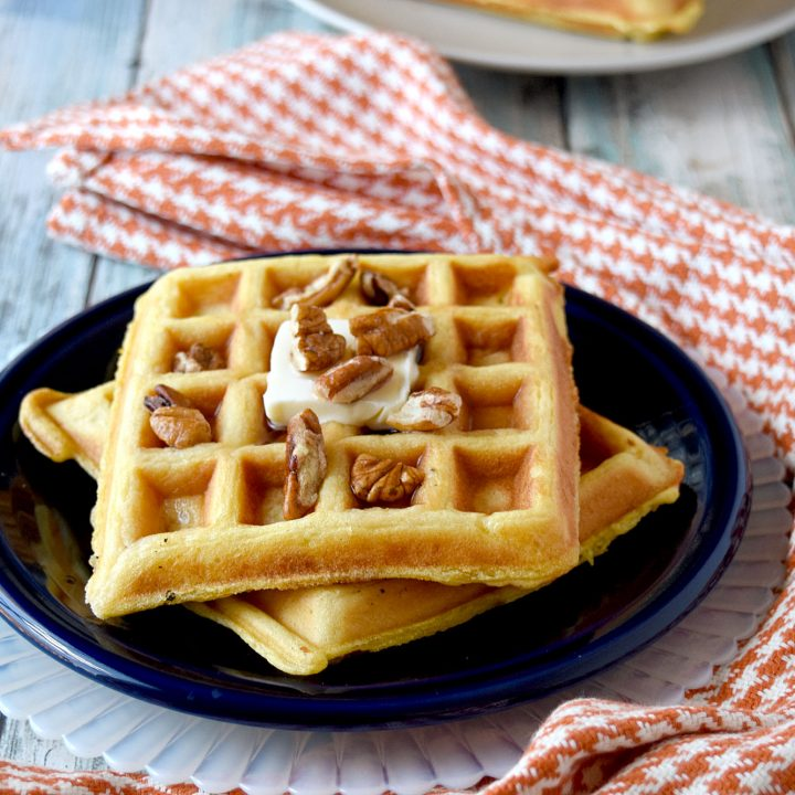 Overnight Pumpkin Waffles are light, fluffy, and irresistible. Your family will love them and ask for them all the time. You will love how easy they are to make. #PumpkinWeek