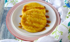 Serabu Labu Kuning aka Yellow Pumpkin Crumpets are slightly sweet and very delicious. They're sort of like a crumpet but without the chewy texture. These are perfect topped with caramel sauce for dessert. #PumpkinWeek