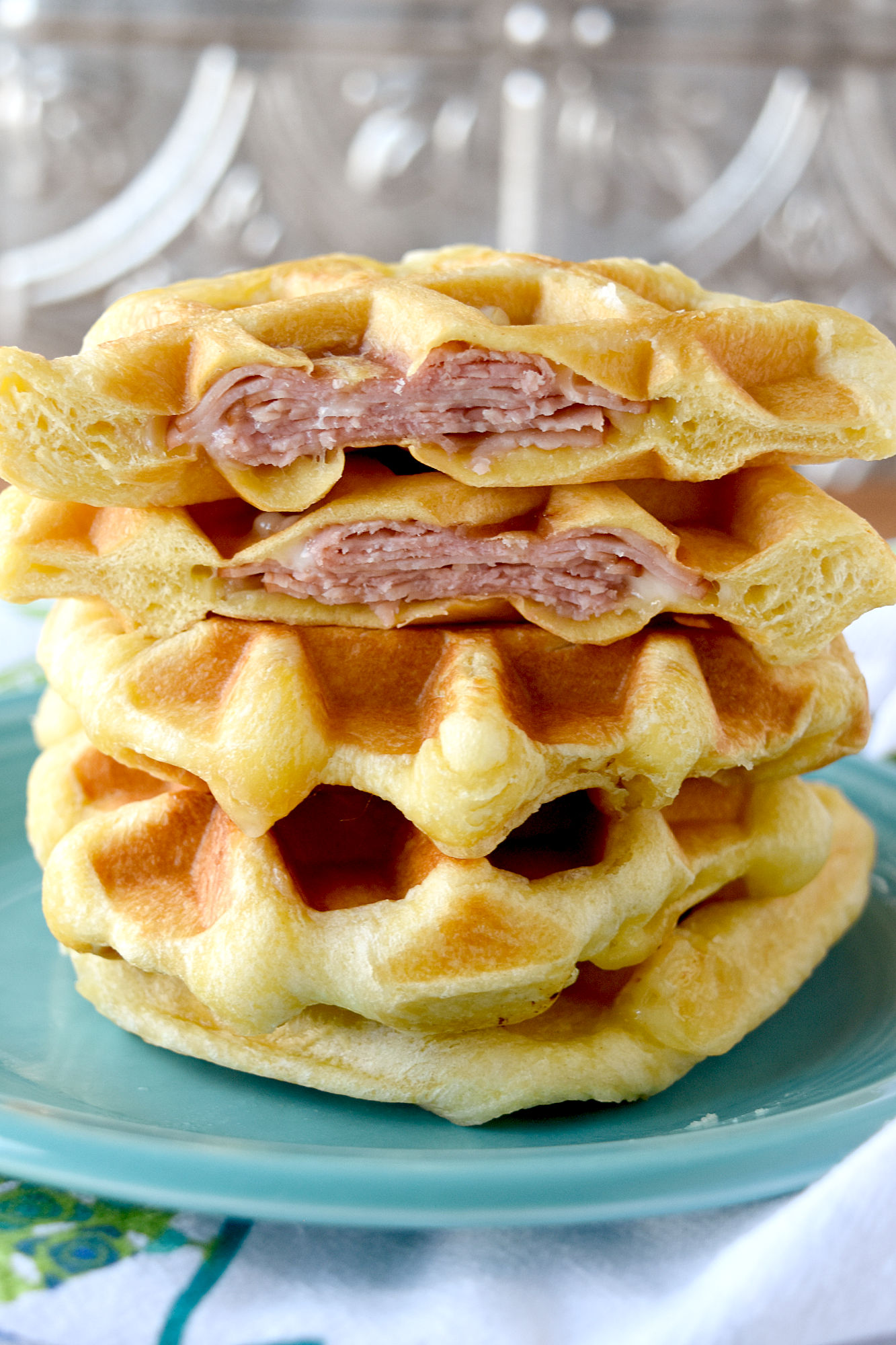 Waffle Biscuit Monte Cristo has only three ingredients and are easy for kids to make themselves. With simple ingredients and an easy technique, kids can make these for a snack or lunch any time they want.  #OurFamilyTable